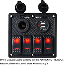 4 Gang DC 12V Rocker Switch Panel for RV Marine Car Vehicles Truck Boat w/Digital Voltmeter Display Dual 5V 3.1A USB Charger Port DC 12V Socket 10A/20A Blue/Red/Orange Lighted Bank Contura Switches