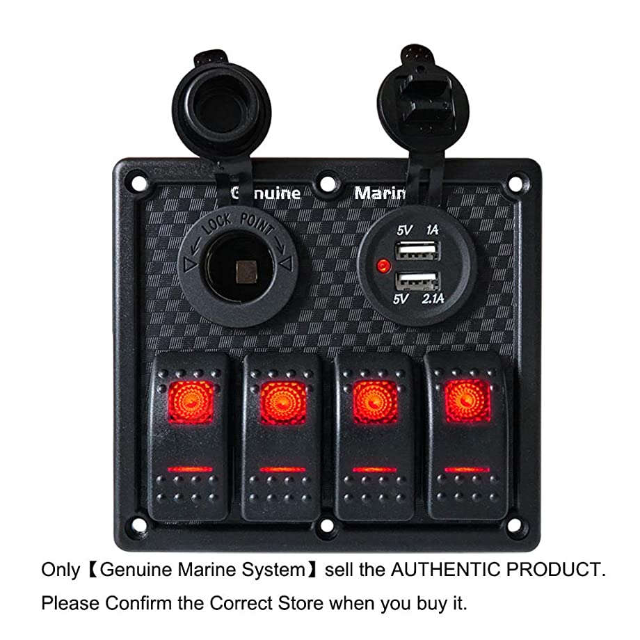 3/4 Gang Marine Boat Rocker Switch Panel - 12V LED Lighted Switches, Fuse Breaker Protected Control Switches with 5V Dual 2.1A USB Charger Socket for RV Truck Cars Vehicles Truck Motor-House Off-Road