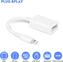VELLEE Upgraded USB Camera Adapter, USB OTG Cable Adapter Compatible with iPhone/iPad, USB Female Supports Connect Card Reader, U Disk, USB Flash Drive, MIDI Interface,MIDI Keyboard, Hubs - White