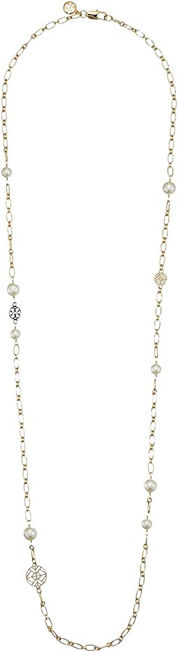 Crystal Pearl Chain Rosary Necklace