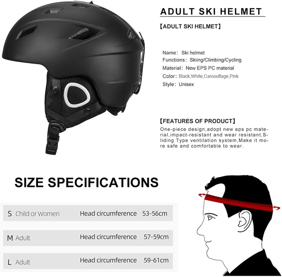 Light Ski Helmet with Safety Certificate,Integrally-Molded Snowboard Helmet for Cycling Skiing Snow,Men Women Child Kids