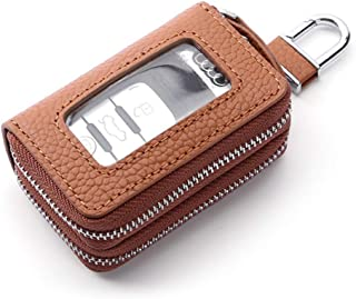 Leather Leather Key Case Double Zipper Open Window Leather Car Key Holster Waterproof (Color : Brown, Size : S)