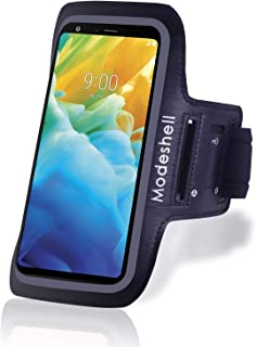 Modeshell LG Armband for Stylo 5/ 5 Plus/ 4/ 4 Plus/ 3/ 3 Plus, Oneplus 7T/ 7/ 6T/ 6, Sports Exercise Running Workout Phone Holder with Key Holder Slot Fingerprint Touch