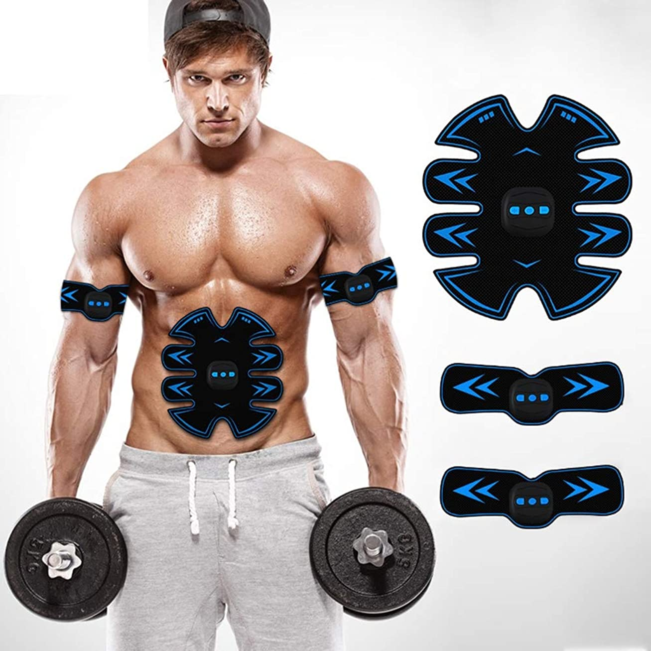 中で衣服伝導スマートUSB電気腹部機器ワイヤレスEMS筋肉刺激装置ウエスト減量マシン男性と女性の運動腹筋トレーニングフィットネス機器,Blue