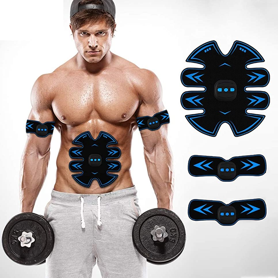ベーリング海峡邪魔強制的スマートUSB電気腹部機器ワイヤレスEMS筋肉刺激装置ウエスト減量マシン男性と女性の運動腹筋トレーニングフィットネス機器,Blue