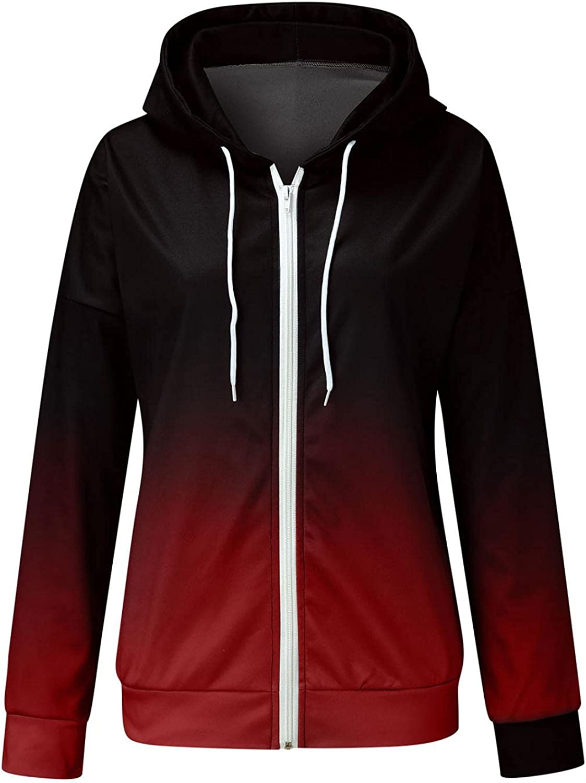 Fudule Zip Up Hoodies for Women, 2021 Fashion Lightweight Full-Zip Outerwear Gradient Long Sleeve Coat Fall Casual Tops