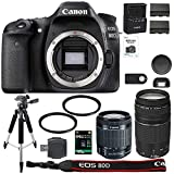 Canon EOS 80D Digital SLR Camera + 18-55mm STM + Canon 75-300mm III Lens + SD Card Reader + 64gb SDXC + Remote + Spare Battery + Accessory Bundle - International Version