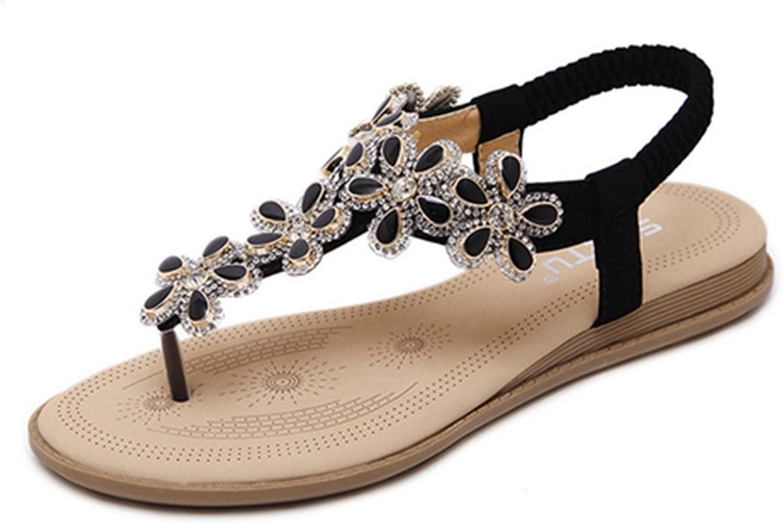 Zarbrina Women Flats Sandals Clip Toe Summmer Bohemia Beads Glitter Rhinestone Ankle Strap Stylish Flipflop