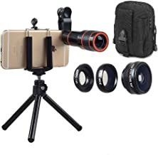 Fun Like Pro Lens Kit For Mobile Phone Camera 4-IN-1 Set Constant 12x Zoom, Fisheye Lens Wide Angle Lens Macro Lens For Most Android Phones and iPhones Smartphone Cam Lens Kit Bonus Pouch (Black)
