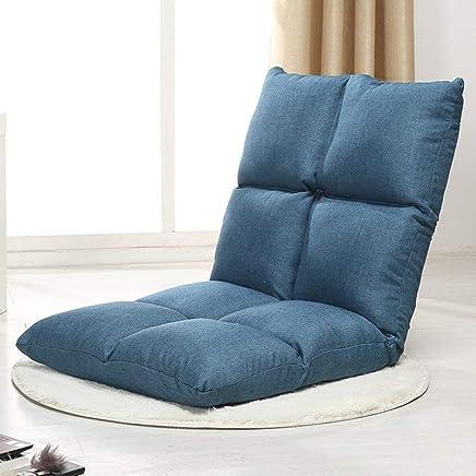 日式单人简约懒人沙发 多功能大号可折叠榻榻米小沙发椅沙发床躺椅宿舍床上阳台电脑靠背椅 (藏蓝)