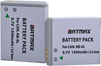 Batmax 2 Pack NB-6L NB-6LH Replacement Batteries for Canon Powershot SX500 is, SX710 HS,SX520 HS,SX530 HS,SX510 HS,S120,SX700 HS,SX610 HS,SX600 HS, D30, and S95 Cameras