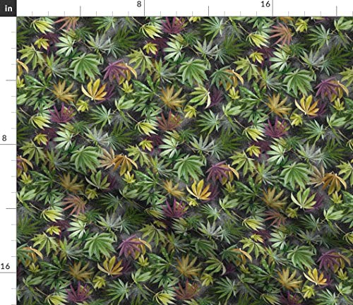 Spoonflower Fabric - Midnight Cannabis Leaves 420 Marijuana Hemp Camouflage Camoflage Herb Printed on Petal Signature Cotton Fabric by The Yard - Sewing Quilting Apparel Crafts Decor