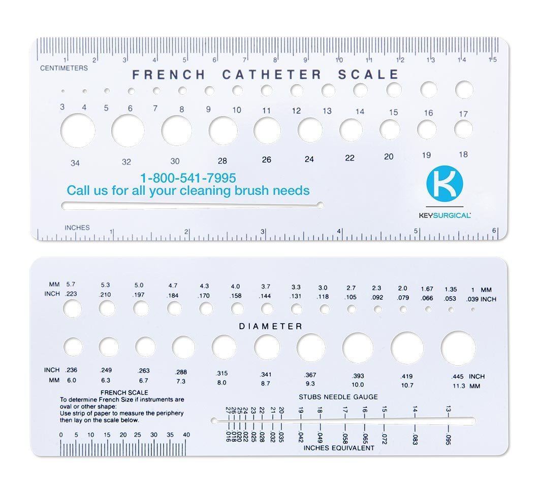 Key Surgical MJ-370 French Catheter Scale, Plastic Die-Cut (Pack of 4)