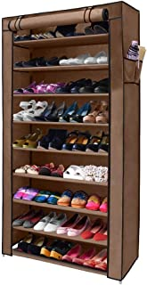 NEX 10-Tier Shoe Rack Portable 36 Pair Shoe Organizer Tower Storage Zippered with Dustproof Cover
