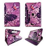 Android Tablet Cases for DanCoTek Quad Core 7' 7inch Samsung Galaxy Tablet Case Tablet Cover 7 inch 360 Rotating Folding Nook Google Android Tablet Case Tablet Covers Travel E-reader Multi Butterfly