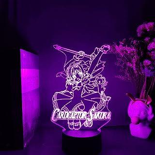 3D الوهم مصباح الجدول المزاج ليلة الخفيفة كينوموتو ساكورا الشكل أنيمي كاردكابتور ساكورا هاوس روم بيدفيس مانغا آرت -16 لون ...