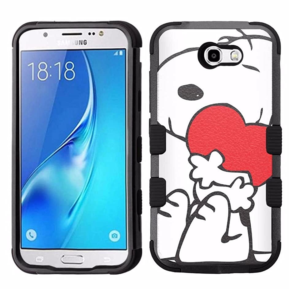 Galaxy J7 V Case, Galaxy J7 Perx Case, Galaxy J7 Sky Pro Case, J7 2017 Case, Hard+Rubber Dual Layer Hybrid Heavy-Duty Rugged Armor Cover Case - Snoopy #H