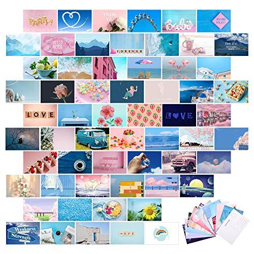 60 Stücke Blau Ästhetisch Wand Collage Kit Foto Collage mit Rückseitiger Postkarte 4 x 6 Zoll Wand Kunst Druck, Wohnheim Foto Sammlung Wand Dekor, Kleine Poster Raum Dekor