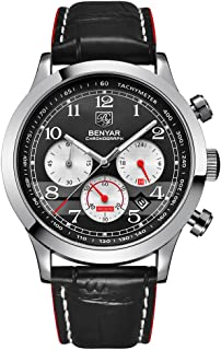 BENYAR Classic Fashion Quartz Watch Business Chronograph Leather Band Watches for Men
