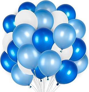 PartyWoo Bleu Blanc Ballon, 100 pcs 12 Pouces Bleu Blanc Ballons pour Decoration Bapteme Garcon