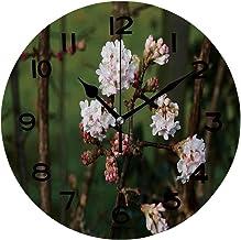 ALUONI Print Round Wall Clock, 10 Inch Viburnum Bodnantense Quiet Desk Clock for Home,Office,School IS144013