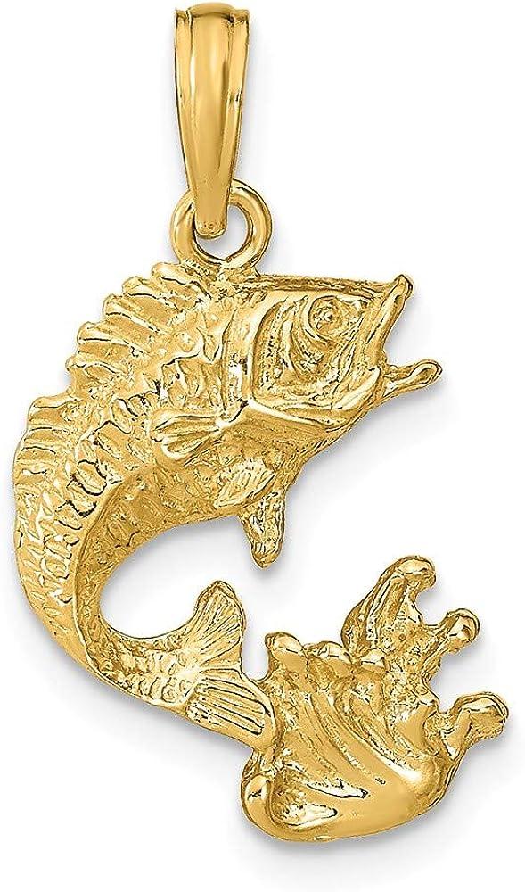 Solid 14k Yellow Gold Bass Fish Pendant Charm