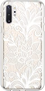 PHEZEN Galaxy Note 10 Plus Case Cute Art Design Soft Flexible Crystal Clear TPU Silicone Rubber Case Slim Transparent TPU Bumper Cover Phone Case for Samsung Galaxy Note 10 Plus,White Henna Mandala