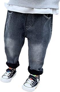 HOSD19 otoño e Invierno nuevos Pantalones para niños Negro Compuesto Polar Polar niño Engrosamiento más Jeans de Terciopelo