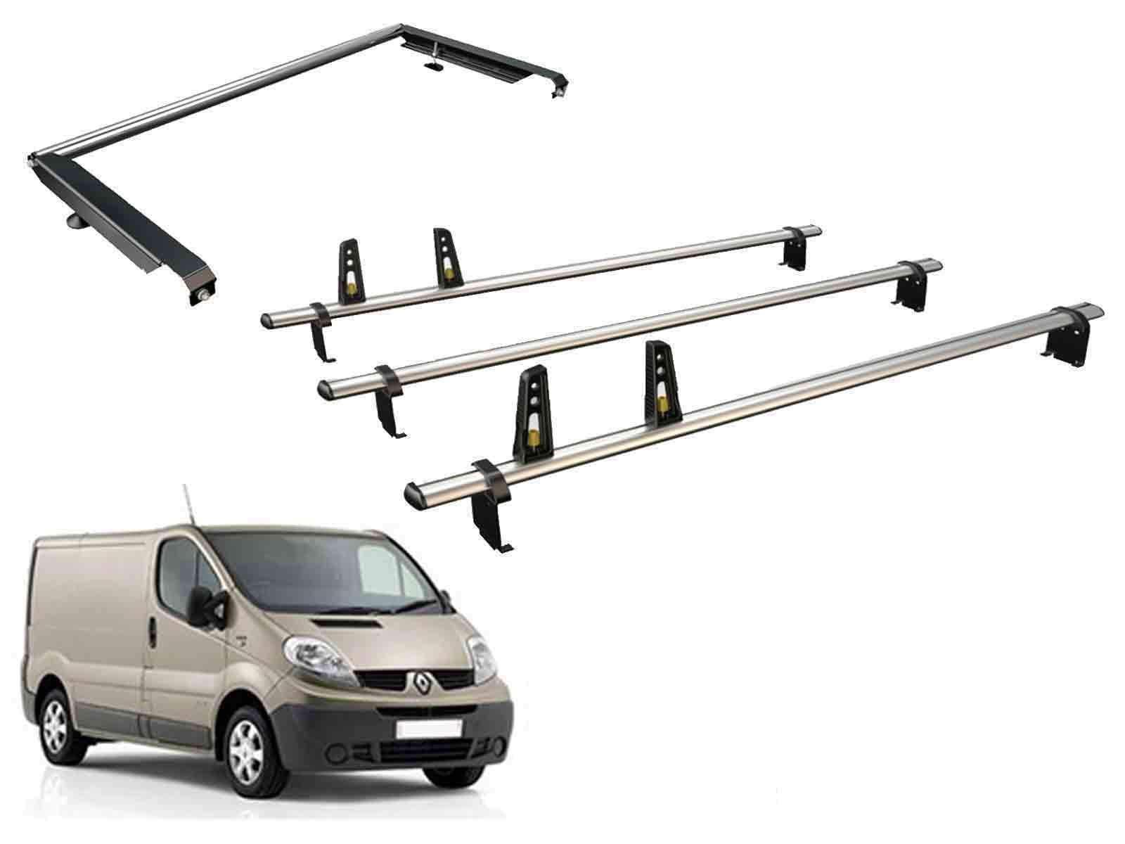 Van Guard Ulti Bar - Juego de 3 Barras de Techo y Rodillo de Escalera Trasera para Renault Trafic (01-14): Amazon.es: Coche y moto