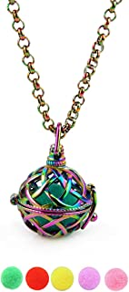 NewStar Rainbow Cage Pendant Necklace Stainless Steel Cage Pendants for Pearl Stone Charm