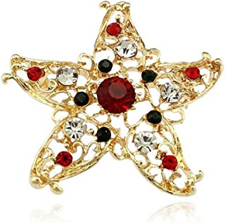 Freedi Christmas Diamond Brooch Star Fish Hollow Clothes Pin Christmas Ornament