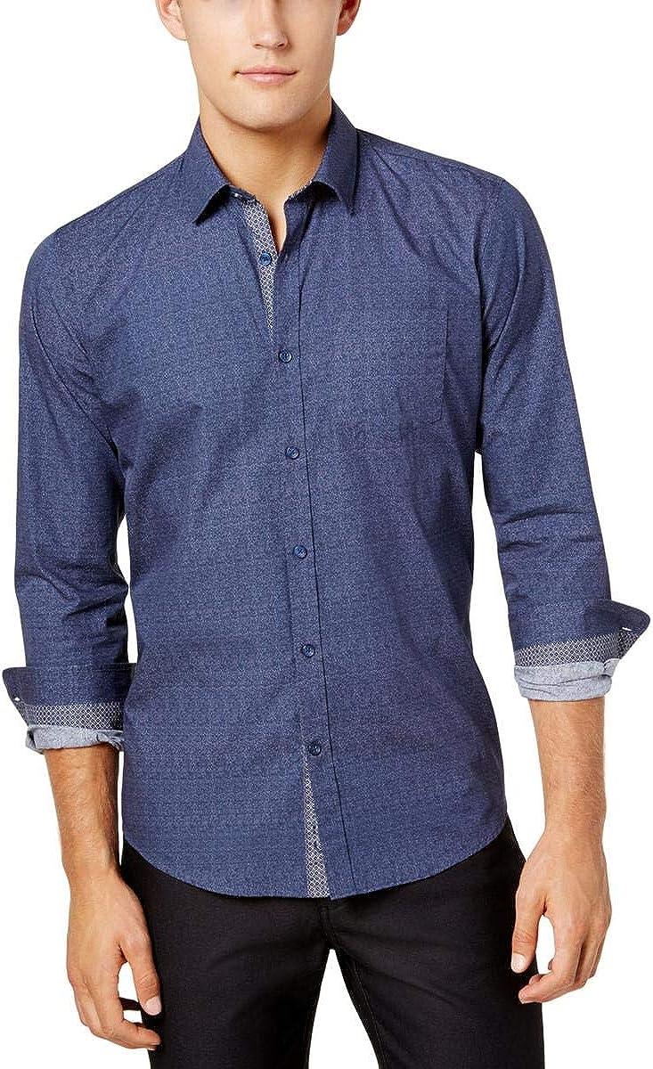 Ryan Seacrest Distinction Mens Casual Printed Button-Down Shirt Blue XXL