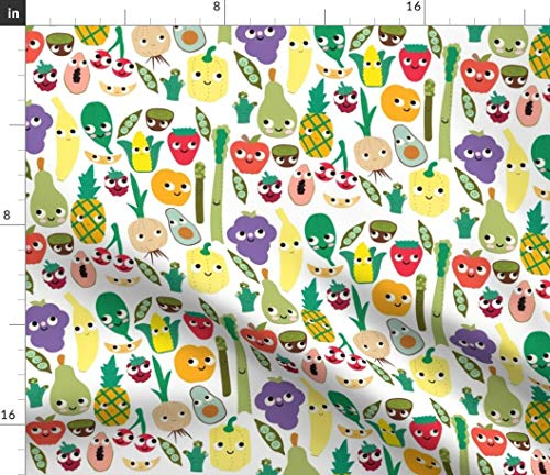 Spoonflower Fabric - Fruit Veggie Kawaii Corn Strawberry Pineapple Broccoli Vegetable Printed on Petal Signature Cotton Fabric by The Yard - Sewing Quilting Apparel Crafts Decor