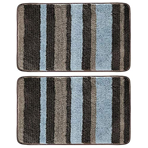 "mDesign Soft Microfiber Polyester Non-Slip Spa Mat, Plush Water Absorbent Accent Rug for Bathroom Vanity, Bathtub/Shower - Machine Washable, Striped Design, 34"" x 21"" - 2 Pack - Mocha Brown/Gray"