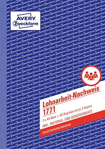AVERY Zweckform 1771 Lohnarbeit-Nachweis (A5, selbstdurchschreibend, für Deutschland u. Österreich, von Rechtsexperten geprüft und Finanzamt anerkannt, zur Stundenerfassung, 3x40 Blatt) weiß/gelb/rosa