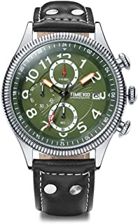 Time100 Men Multifunction Sports Casual Alloy Plating Case Leather Band Luminous Quartz Watches for Mens Green