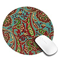 マウスパッド ラウンドマウスマット ゲーミングマウスパッド 丸型 円形 おしゃれ ペイズリー 花柄 柔軟 PC ノートパソコン オフィス用 滑り止めゴム底 耐久性が良い 光学式マウス対応 人間工学 オフィス最適 高級感