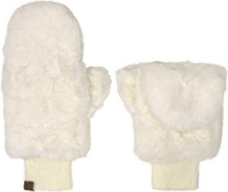 CC Soft Faux Fur Fuzzy Lined Flip Up Down Top Fingerless Mitten Gloves