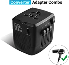 Travel Adapter and Converter, 220v to 110v Converter,2400W Power Converter Adapter Combo for Hair Dryer Steam Iron Laptop Phone, US to UK Europe AU Over 200 Countries,A Must for International Travel