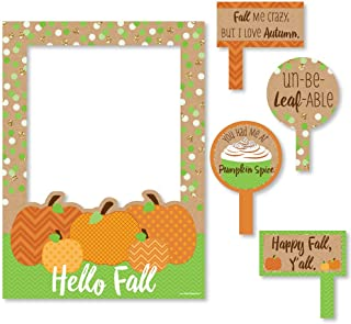 Big Dot of Happiness Pumpkin Patch - Fall or Halloween Party Photo Booth Picture Frame and Props - Printed on Sturdy Material