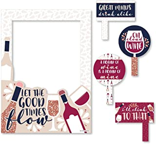 Big Dot of Happiness But First, Wine - Wine Tasting Party Selfie Photo Booth Picture Frame and Props - Printed on Sturdy Material