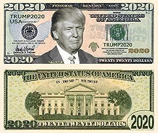 American Print Trump Dollar Bill 2020 - 50 Pack of 10 50 100 - Re-Election Presidential Dollar Bill - Limited Edition Novelty Dollar Bill - Support Our President (50 Pack)
