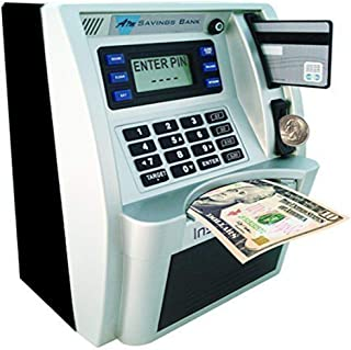 JEEY ATM Savings Bank,Digital Piggy Money Bank Machine,Personal ATM Cash Coin Money Bank for Kids (Black)