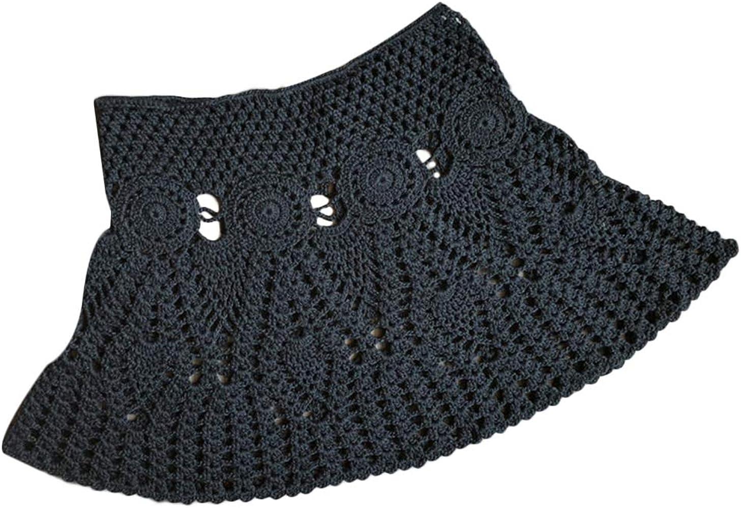 Black mini skirts size 28 Lovnely Women S Knitted Crochet Beach Mini Skirt Bikini Swimsuit Cover Ups Beachwear Skirts One Size Black At Amazon Women S Clothing Store