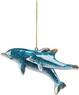 GALLERIE II Cozumel Mom & Baby Dolphin Sea Life Coastal Tropical Beach Blue Gift Christmas Resin Xmas Hanging Ornament