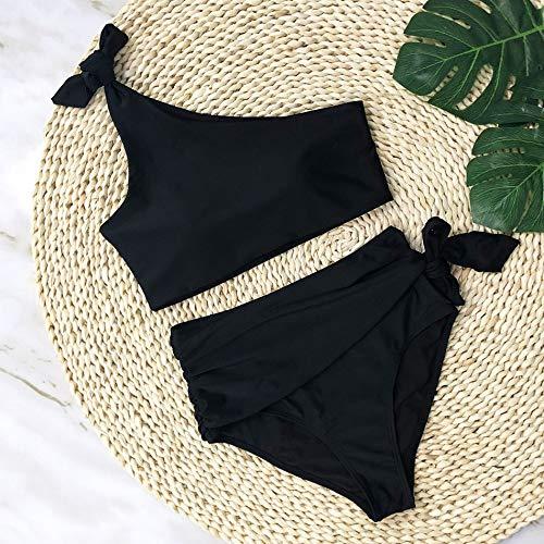 XUANYA Bañador Mujer bañador Negro Simple One-Shoulder Conjunto Bikini Beach Verano Bañadores Bañador bañador Doble Push Up,S