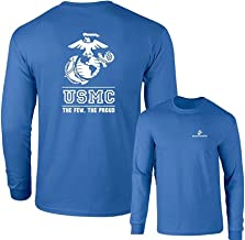 Lucky Ride Marines USMC The Few The Proud White Emblem F&B Long Sleeve T-Shirt