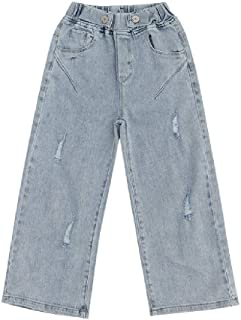 NOBRAND Teen Girls Jeans Fashion Holes Wide Leg Pants for Teenage 8 10 12 Years Children Outfit
