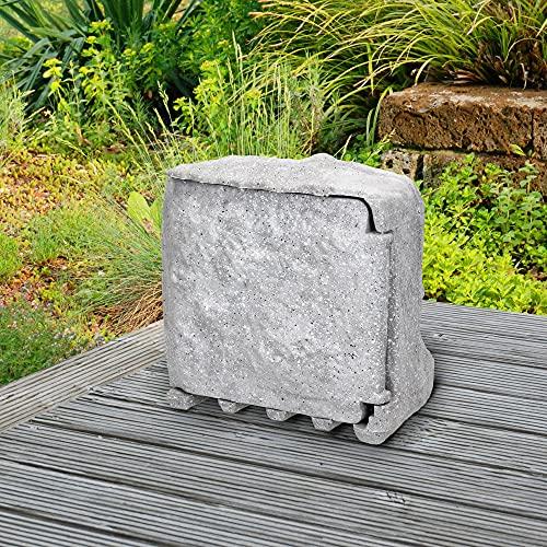 ML-Design Regleta enchufes Jardín de Piedra - 4 - tomas - Gris claro - cable 1,5m - accesorios de montaje 220-240 V - 3680 W de potencia total - Resistente lluvia y frío - Puerta cierre magnética