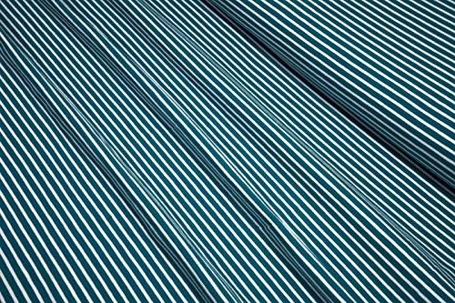 mollipolli-Stoffe Jersey Little Darling dunkeltürkis weiß gestreift 0,5m